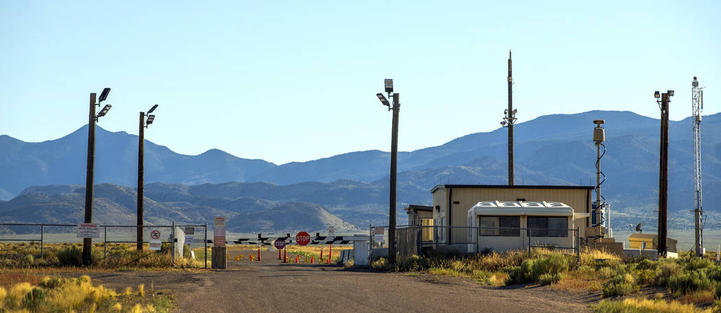 The Area 51 military base back gate at Groom Lake with no signs of activity on Aug. 1, 2019, ye ...