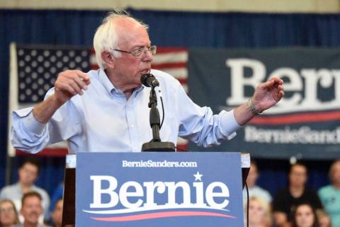 Democratic presidential hopeful Bernie Sanders speaks at the beginning of a town hall meeting t ...