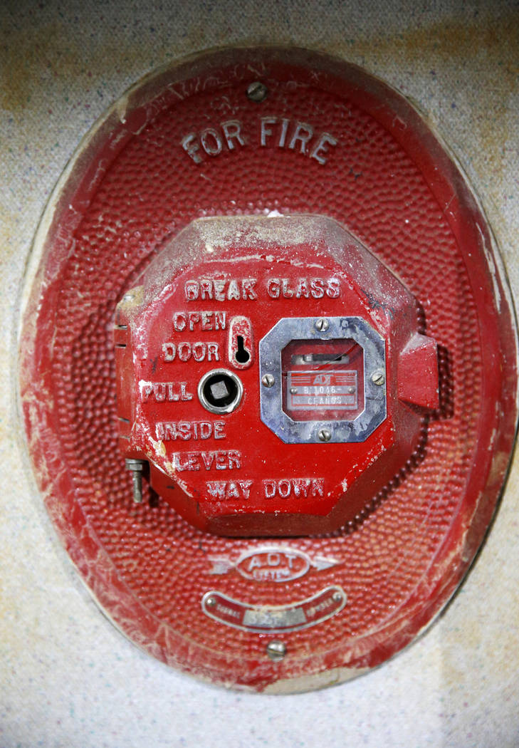 A fire alarm said to be from the 1950s inside the former Sears store is shown at the Boulevard ...