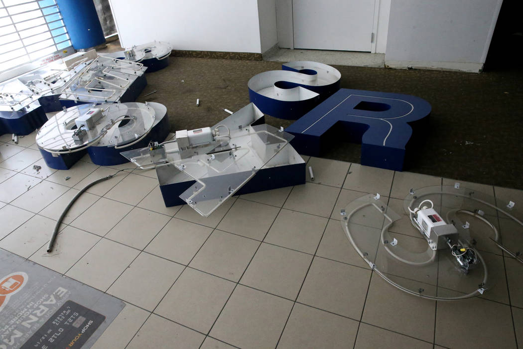 Letters from the former Sears store is shown inside the closed store at the Boulevard Mall in L ...