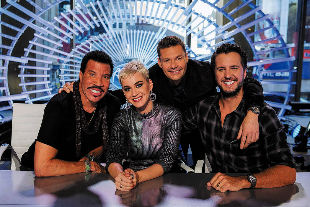 """ABC's """"American Idol"""" judges Lionel Richie, Katy Perry and Luke Bryan with host Ryan Seacrest. ..."""