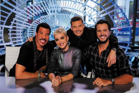 "ABC's ""American Idol"" judges Lionel Richie, left, Katy Perry and Luke Bryan with host Ryan Seac ..."