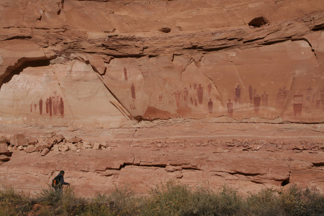 """These pictographs at the """"Great Gallery"""" feature life-size anthropomorphic figure ..."""