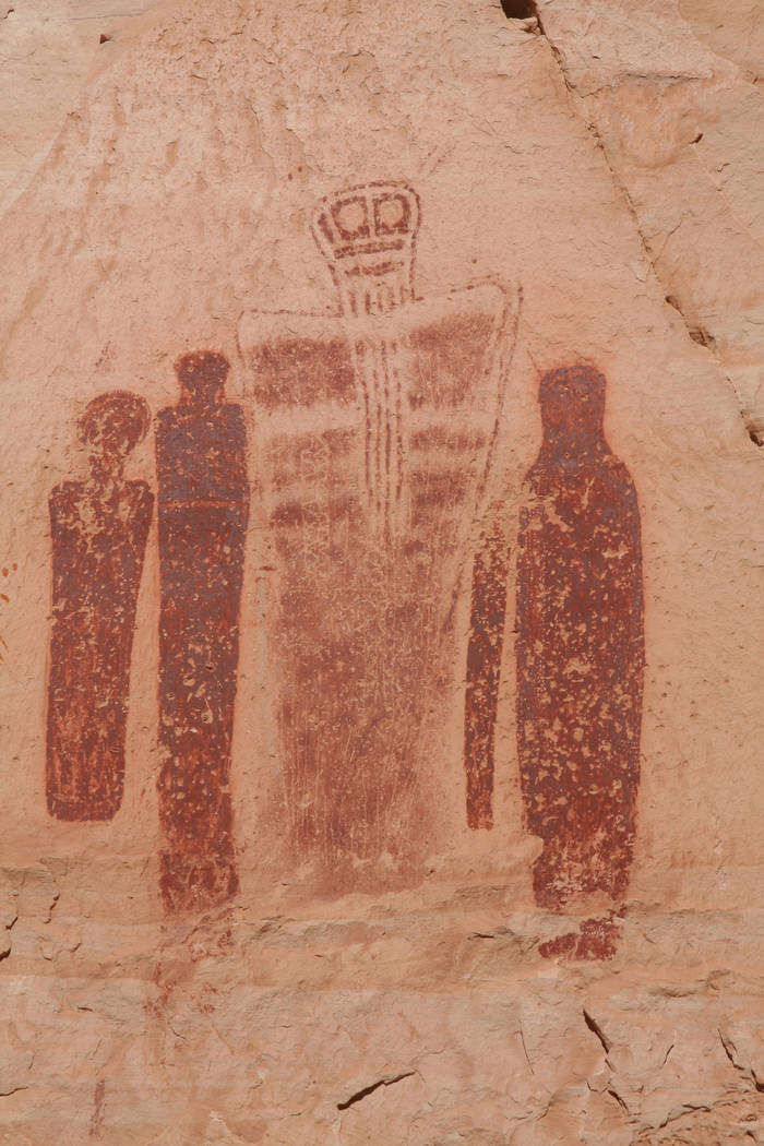 The Holy Ghost panel features pictographs close to seven feet tall. (Deborah Wall/Las Vegas Rev ...