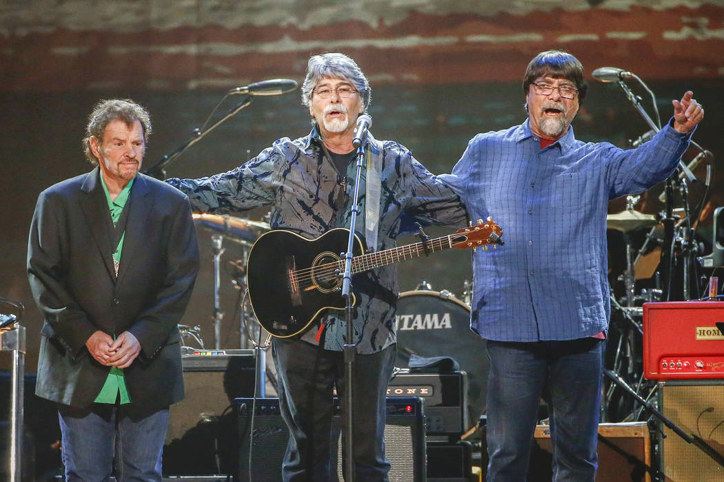 FILE - This April 6, 2017 file photo shows Jeff Cook, from left, Randy Owen and Teddy Gentry, f ...