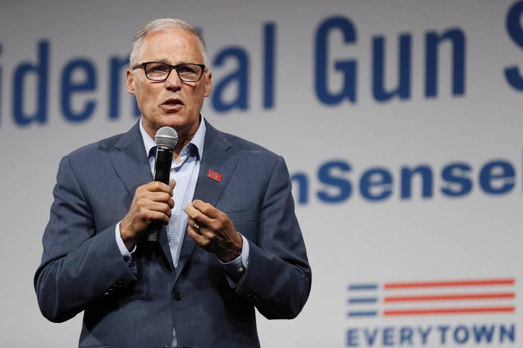 Democratic presidential candidate Washington Gov. Jay Inslee speaks at the Presidential Gun Sen ...