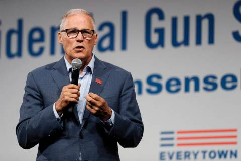 Democratic presidential candidate Washington Gov. Jay Inslee speaks at the Presidential Gun Sen ...