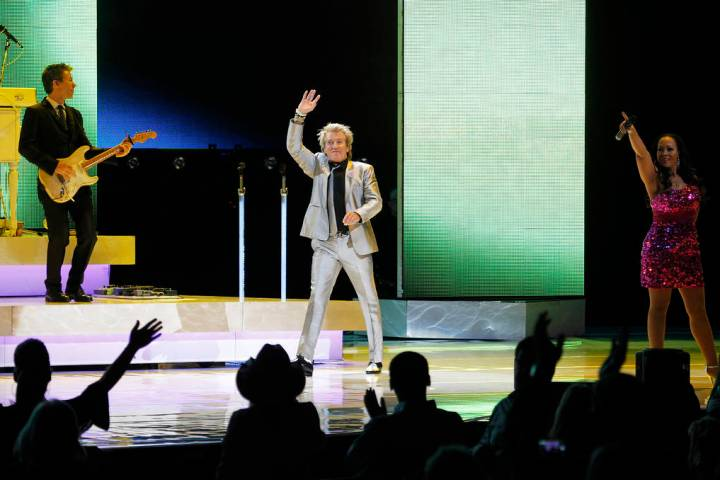 Rod Stewart takes the stage to perform in the Colosseum at Caesars Palace in Las Vegas on Nov. ...