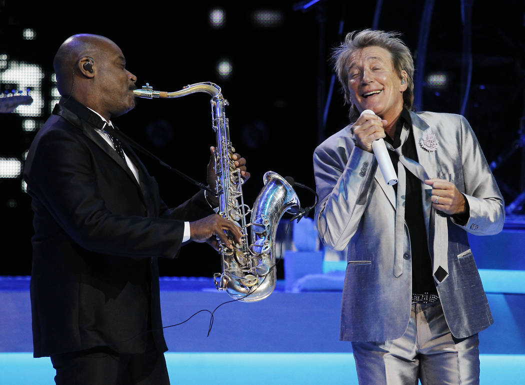 Rod Stewart performs in the Colosseum at Caesars Palace in Las Vegas on Nov. 6, 2013. (Jason Be ...