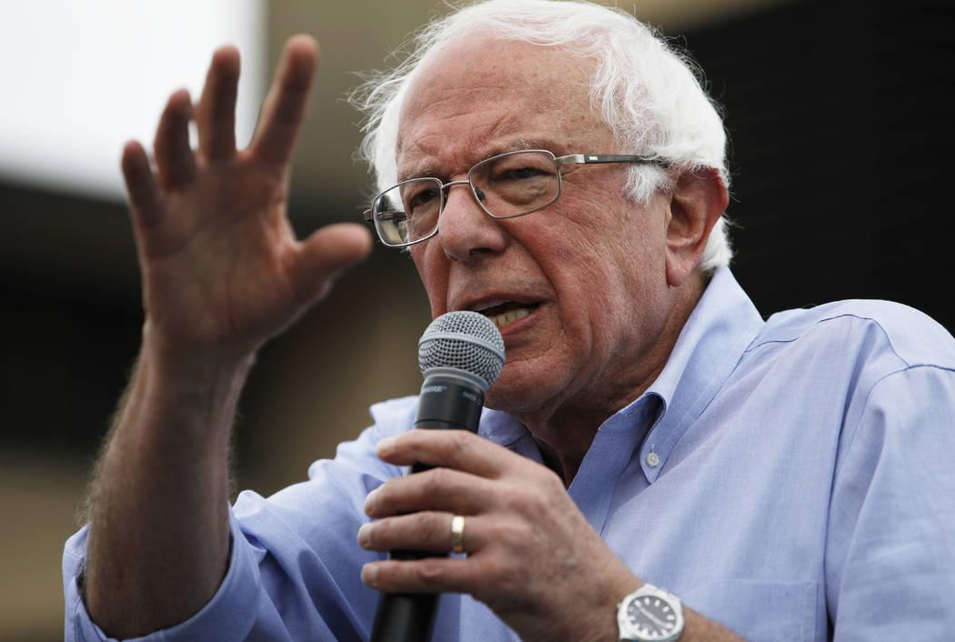 In a Aug. 11, 2019, file photo, Democratic presidential candidate Sen. Bernie Sanders, I-Vt., s ...