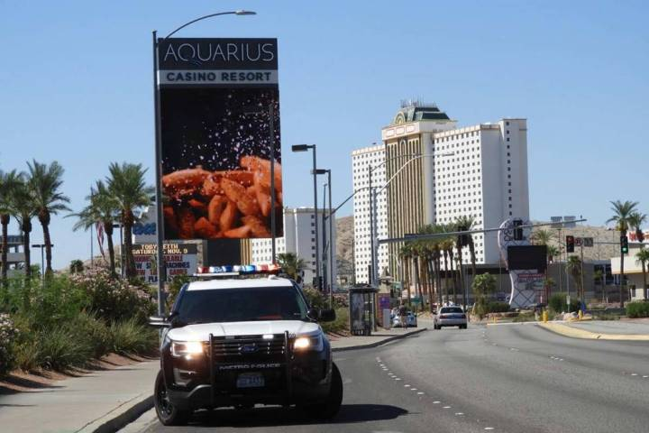 An armed robbery suspect is dead after an officer-involved shooting at the Aquarius Casino in L ...