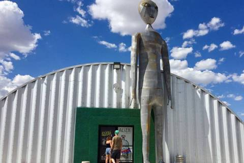 Visitors enter the Alien Research Center along the Extraterrestrial Highway in Hiko. (Christoph ...