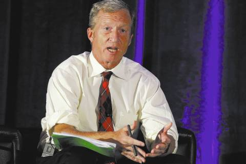 FILE - Tom Steyer discusses climate change at a symposium in Sacramento, Calif. AP Photo/Rich P ...