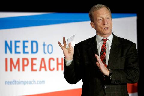 "Billionaire investor and Democratic activist Tom Steyer speaks during a ""Need to Impeach"" town ..."
