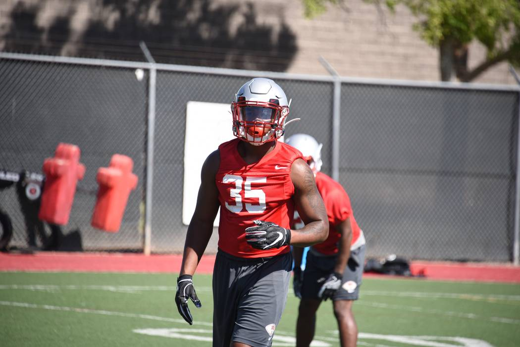 UNLV defensive end Jacoby Windmon takes part in practice at Rebel Park. Photo courtesy of UNLV ...