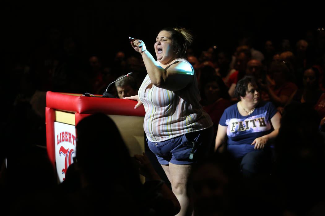 Kimberly Fillmore, parent of two students in the Clark County School District, yells during a C ...