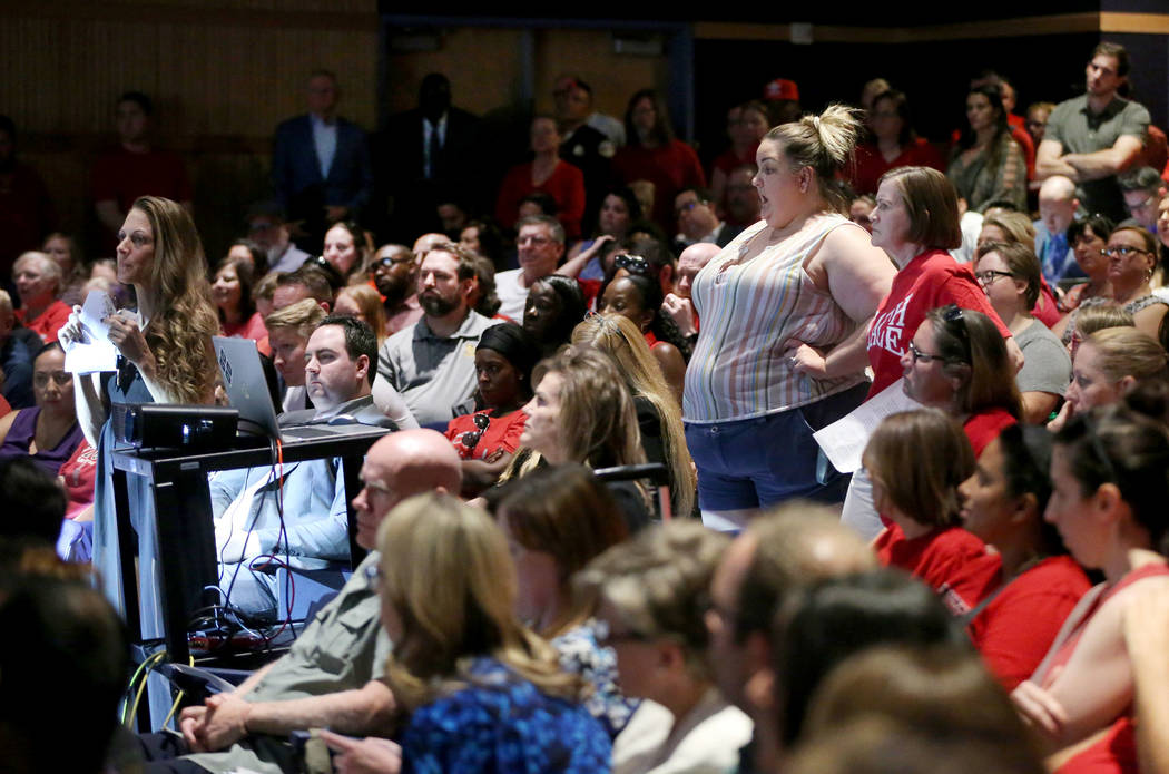 Attendees demand to speak after public comment was called off during a Clark County School Dist ...