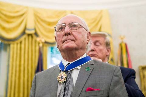 President Donald Trump presents the Presidential Medal of Freedom to former NBA basketball play ...