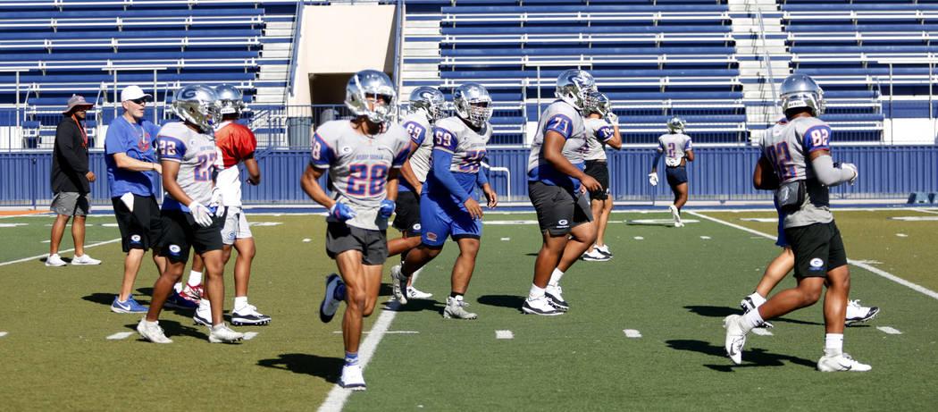 Bishop Gorman football practice underway at Bishop Gorman High School in Las Vegas on Wednesday ...