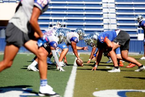 Bishop Gorman football practice underway at Bishop Gorman High School in Las Vegas on Wednesday ...