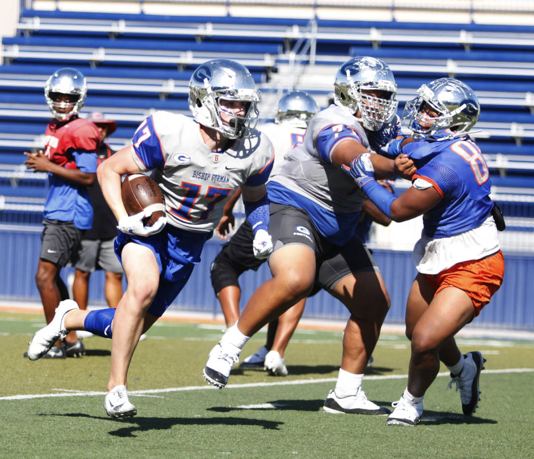 Bishop Gorman's outside linebacker strong safety Travis Meyer (17) runs a drill during practice ...