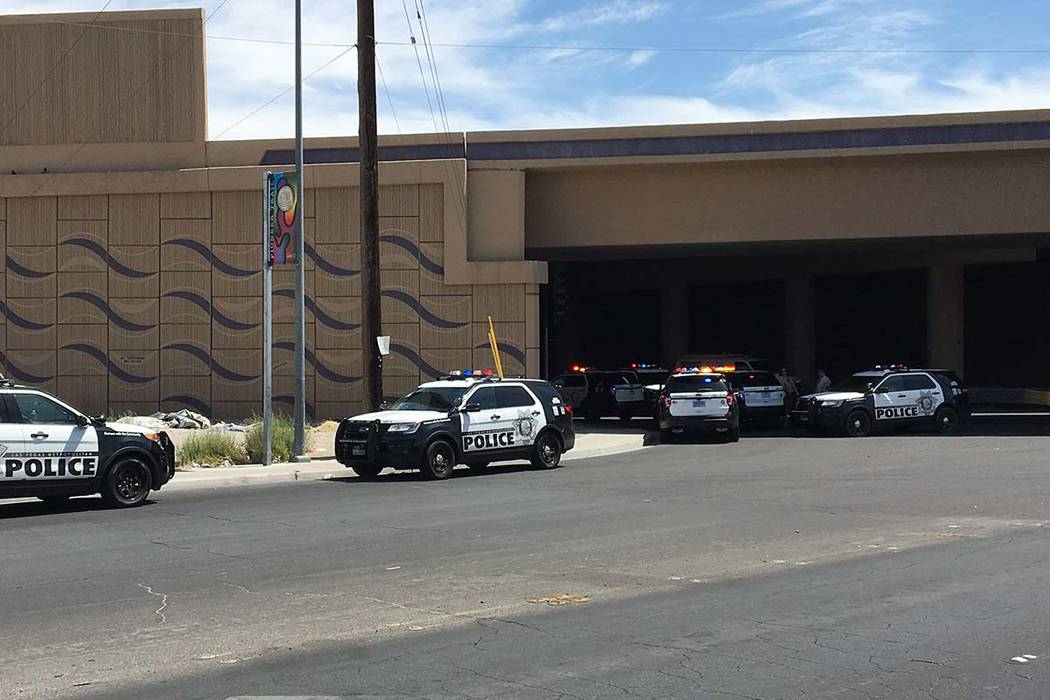 Las Vegas police respond to a fight that left one person with a gash on the arm on Bonanza Road ...