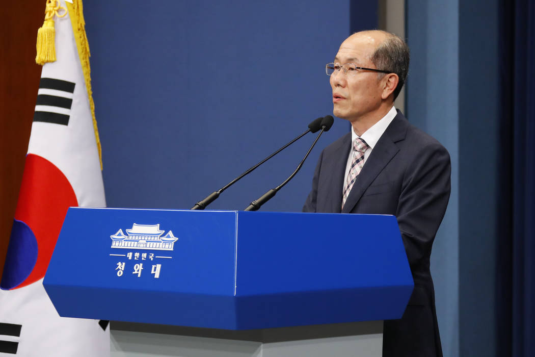 Kim You-geun, deputy director of South Korea's presidential national security office speaks at ...