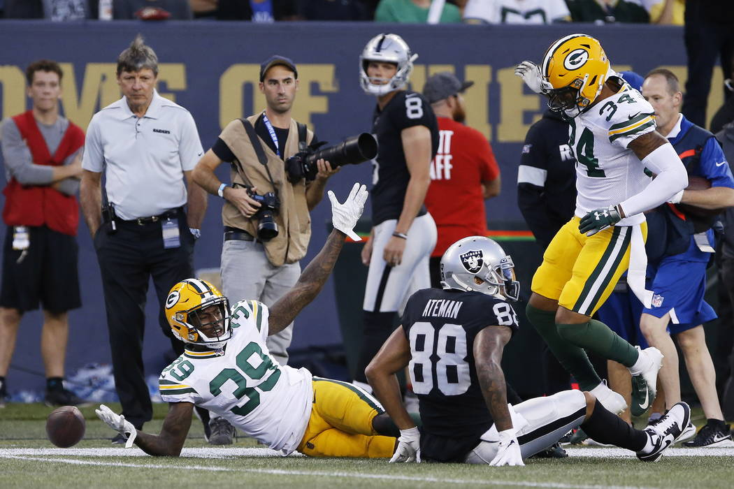 Green Bay Packers' Chandon Sullivan (39) disputes the call after defending against Oakland Raid ...