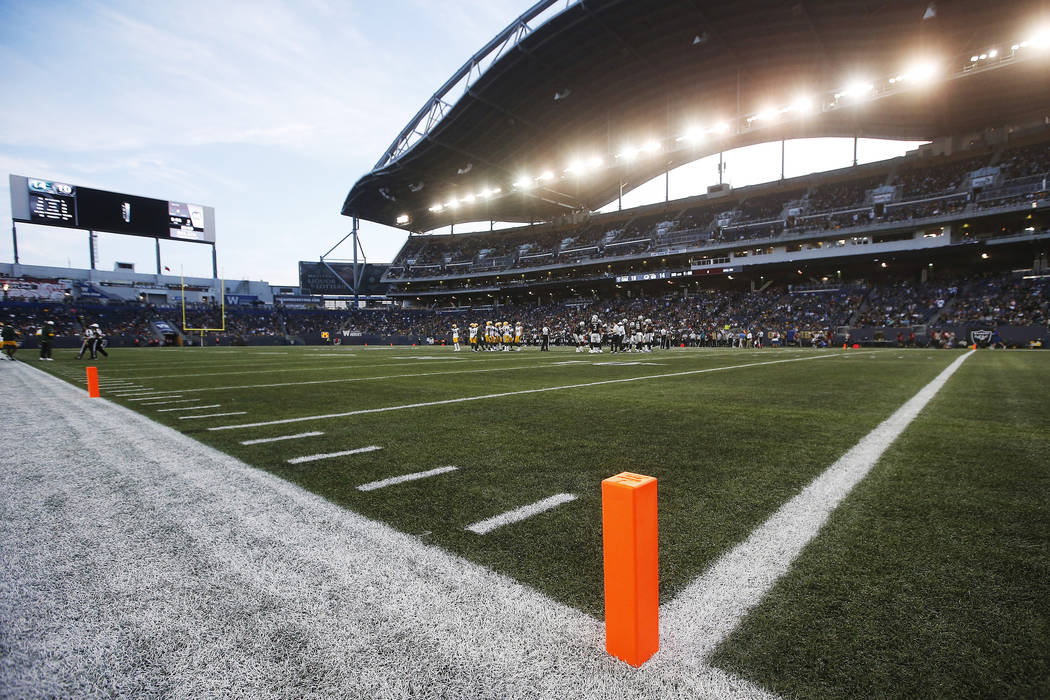 Pylons mark the modified end zone during the first half of an NFL preseason football game betwe ...