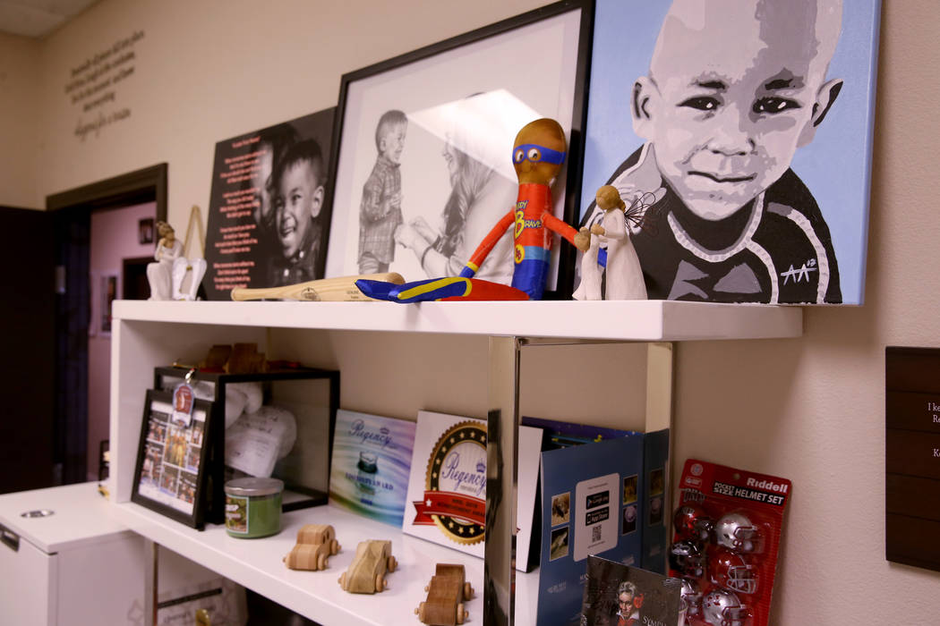 Ayden's Army of Angels office is shown in Las Vegas Monday, Aug. 19, 2019. Ayden's mother Linds ...