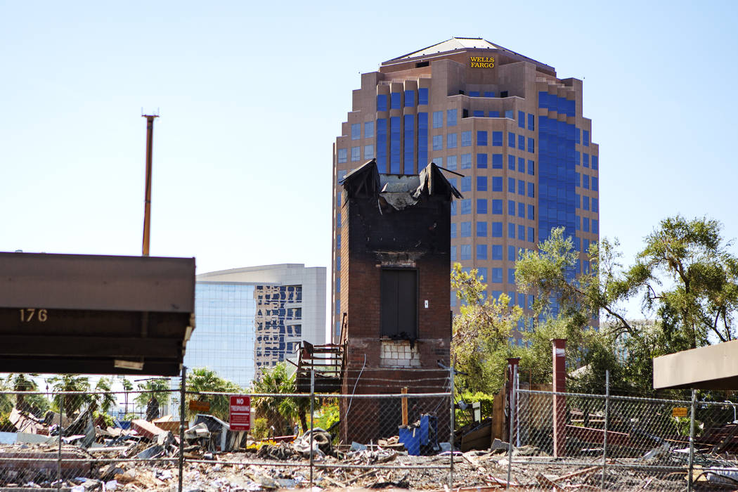 The back of the office complex east of the Strip that burned down a few months ago on Thursday, ...