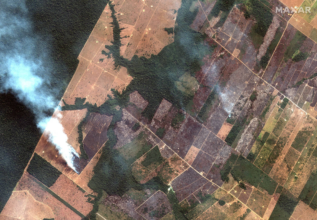 This Aug. 15, 2019 satellite image from Maxar Technologies shows a fire and cleared land southw ...