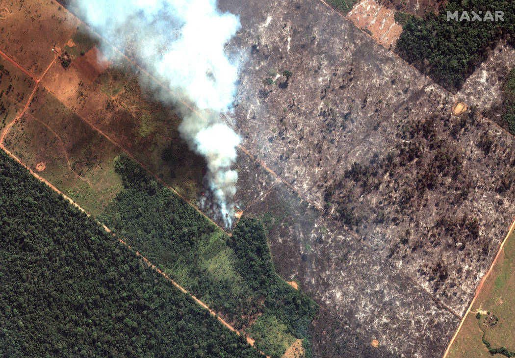 This Aug. 15, 2019 satellite image from Maxar Technologies shows closeup view of a fire southwe ...