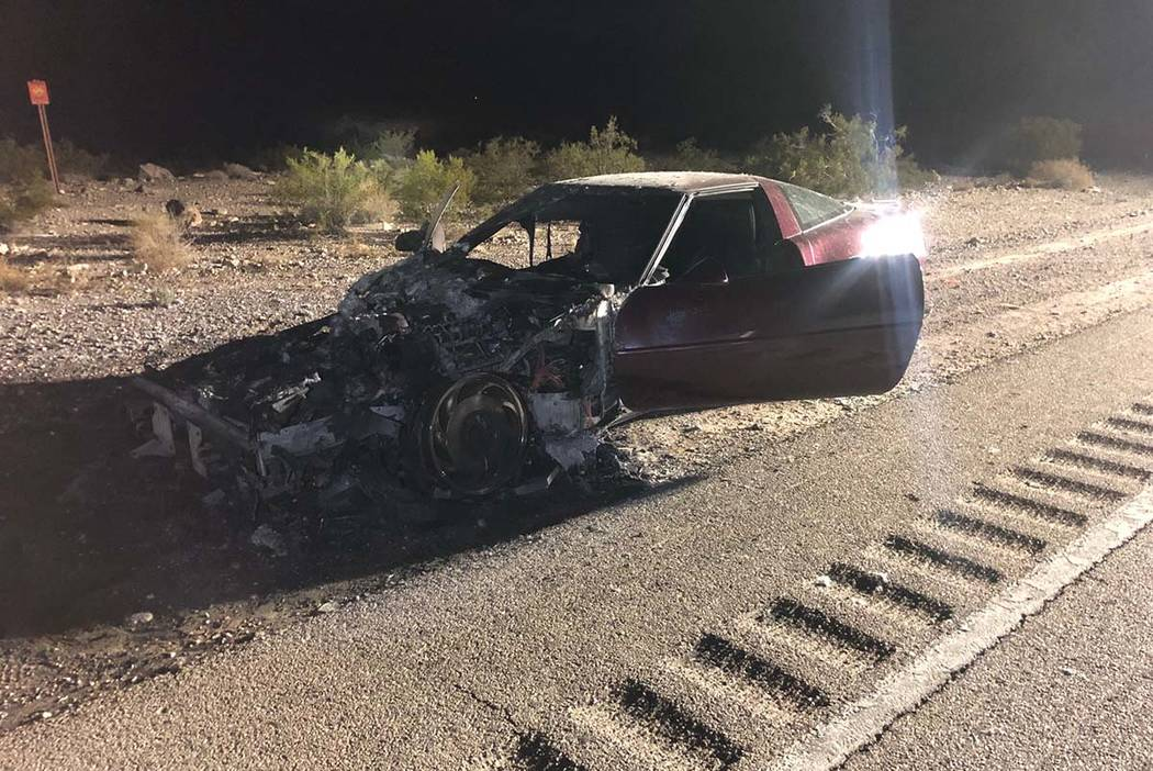Not much remains of a 1993 Chevrolet Corvette at a fatal three-vehicle crash Thursday, Aug. 22, ...