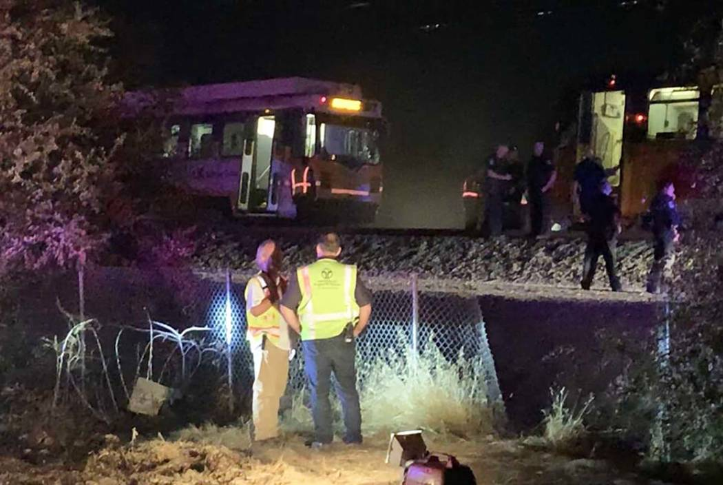 In this image made from video, a Sacramento Regional Transit light-rail car is seen stopped in ...