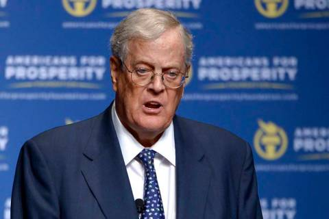 David Koch speaks in Orlando, Fla., Aug. 30, 2013. Koch, a major donor to conservative causes ...