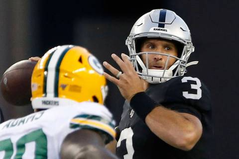 Oakland Raiders quarterback Nathan Peterman (3) throws a pass against the Green Bay Packers dur ...