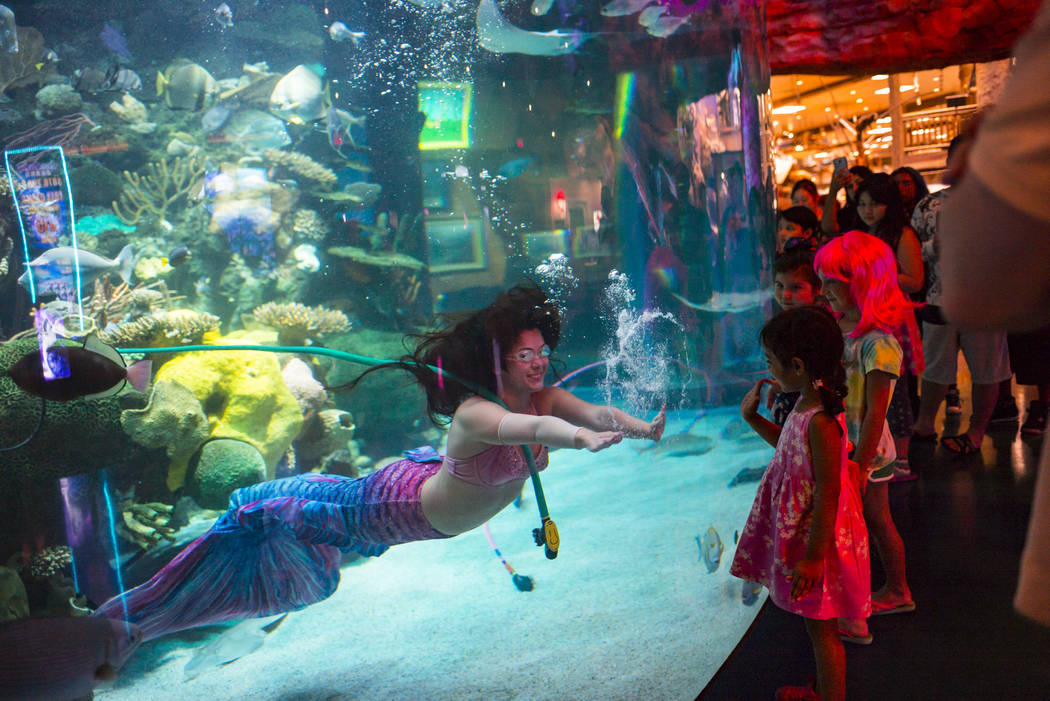 McKenzie Kawano, who works as a mermaid at the aquarium at the Silverton, left, motions to youn ...