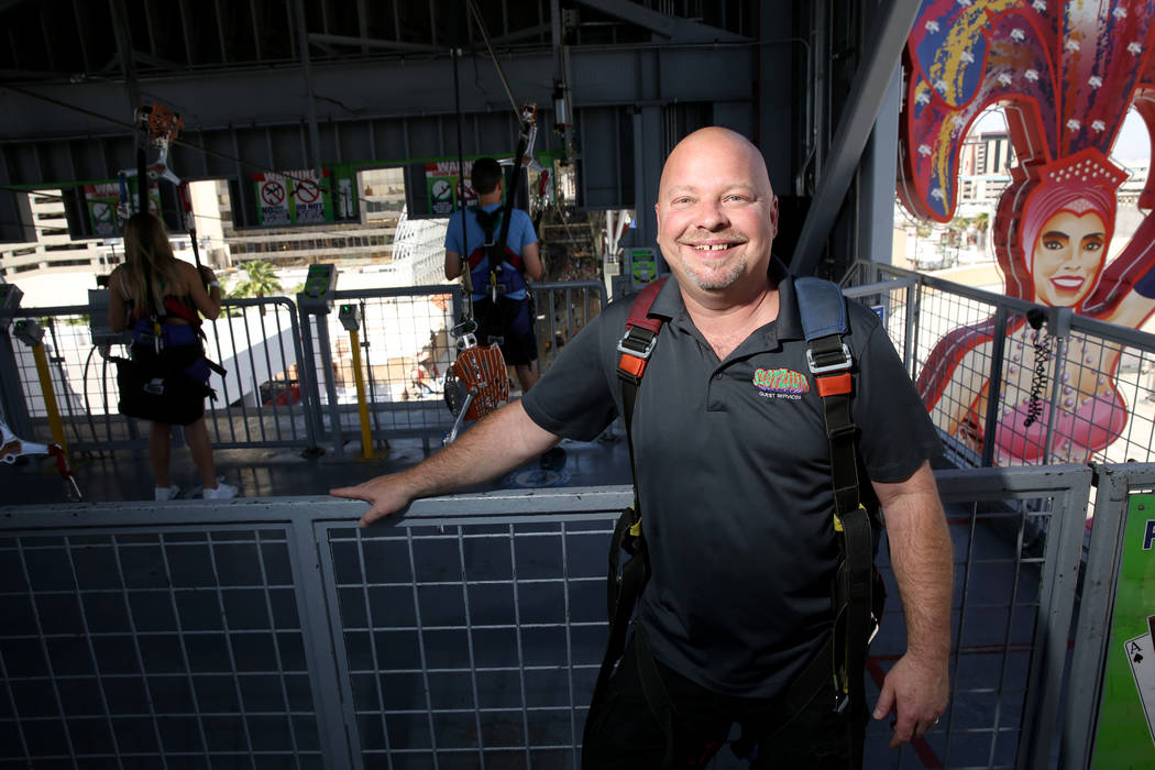 Vic Haase, supervisor of ride operations and guest services at SlotZilla, at the zip line attra ...