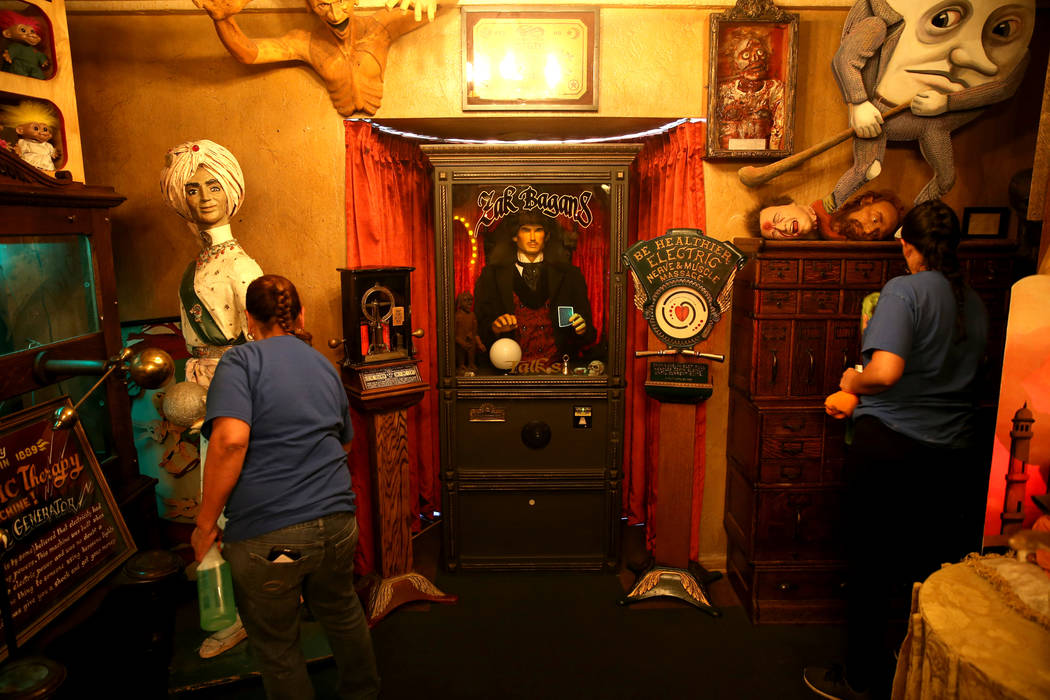 Clean Tastic workers Perla, left, and Valeria do custodial work in the Oddities Room at Zak Bag ...