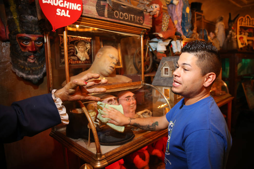 Clean Tastic co-owner Justin Duran does custodial work in the Oddities Room at Zak Bagans' Haun ...
