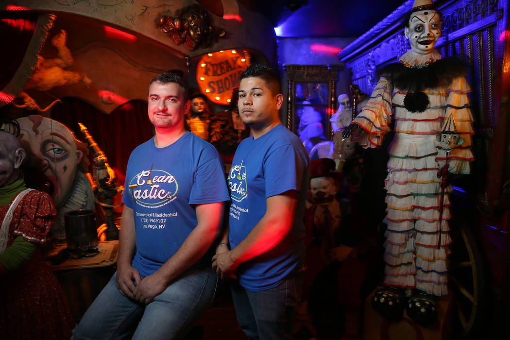 Clean Tastic co-owners Corey Smith, left, and Justin Duran, at Zak Bagans' Haunted Museum in do ...
