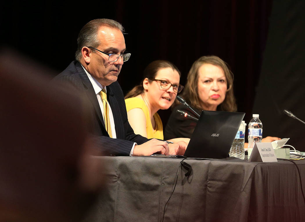 Clark County School District Superintendent Jesus Jara from left, CCSD Board of Trustees Presid ...