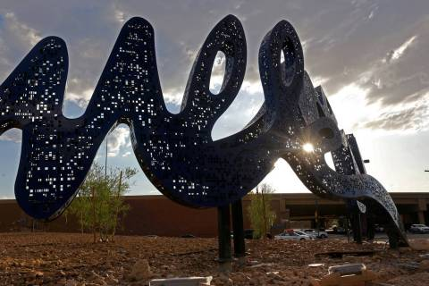 "A new installation called ""Found Font"" at the reconstructed Charleston Interchange in Las Vegas ..."