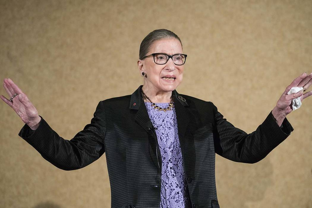 U.S. Supreme Court Justice Ruth Bader Ginsburg is introduced during the keynote address for the ...
