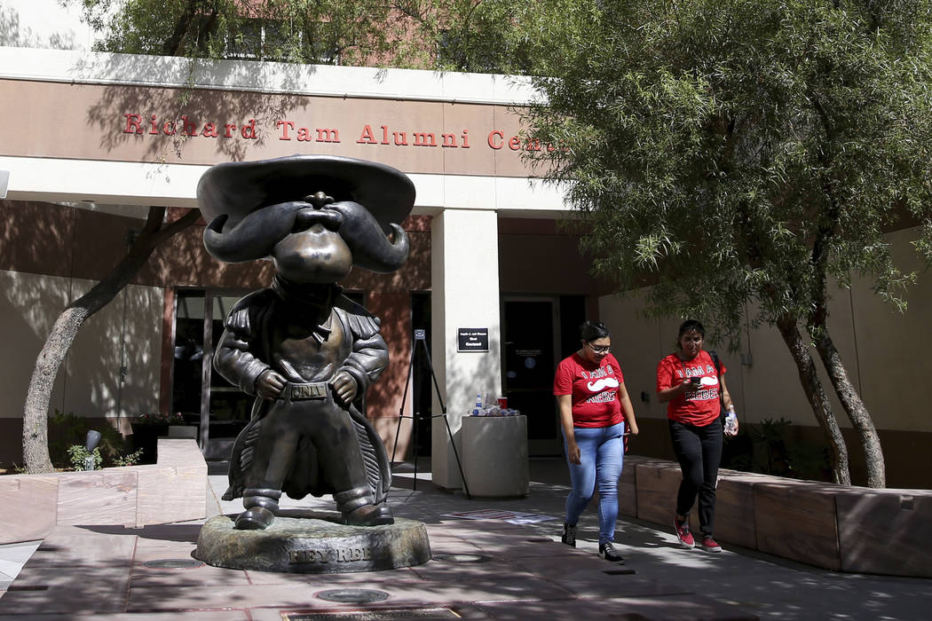 Students walk past a statue UNLV mascot Hey Reb! on campus Friday, Aug. 23, 2019. (K.M. Cannon/ ...