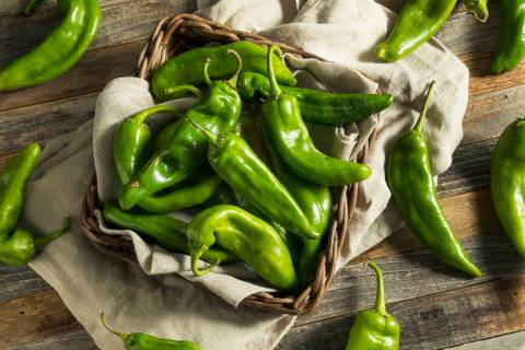 Raw Green Spicy Hatch Peppers in a Basket. (Getty Images)
