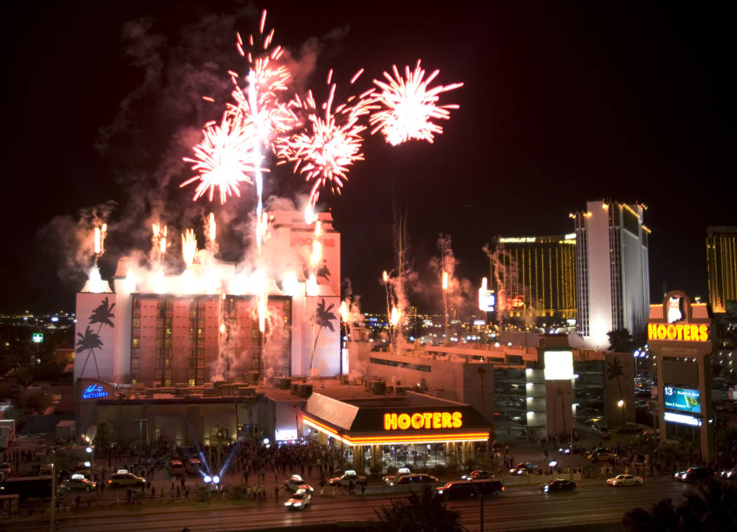 In this Feb.2, 2006, file photo, fireworks explode off the roof of the new Hooters Casino in th ...