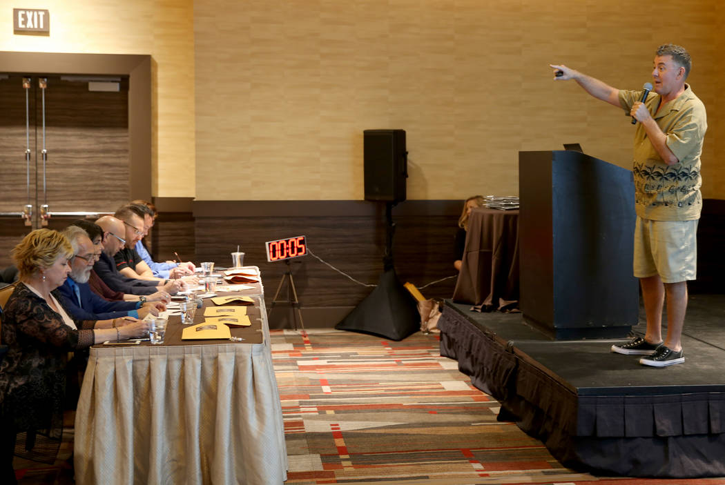 Christopher Campbell of The Beach Bark Brittle Company makes his pitch to the judges at the Sta ...