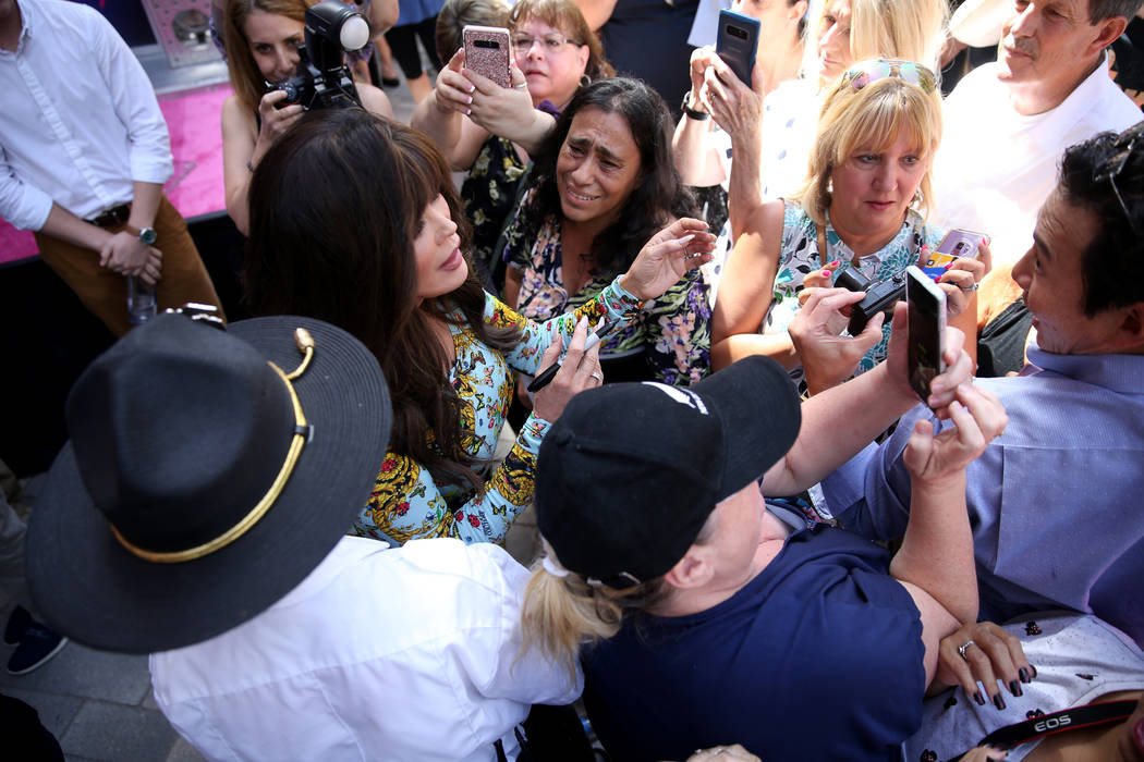 Strip headliner Marie Osmond greets fans after receiving a Key to The Las Vegas Strip with her ...